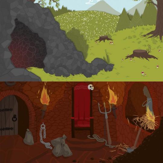 wood season scéna – jeskyně/peklo