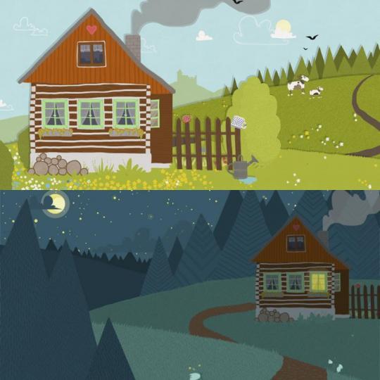 wood season scéna – chaloupka/noční chaloupka