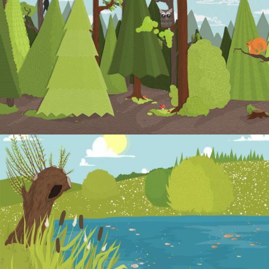 wood season scéna – les/rybník