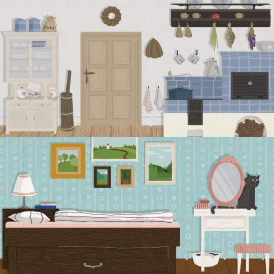wood season scéna – kuchyň/ložnice