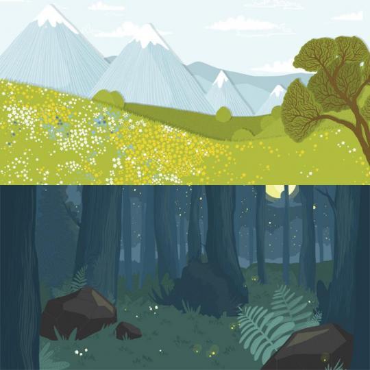 wood season scéna – louka/les