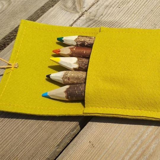 Dřevěné pastelky v zelené kapsičce